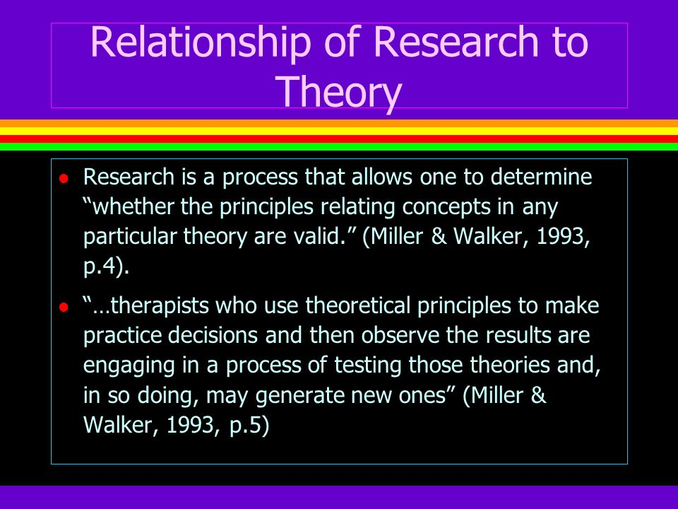 Relationship of Research to Theory l Research is a process that allows one to determine whether the principles relating concepts in any particular the