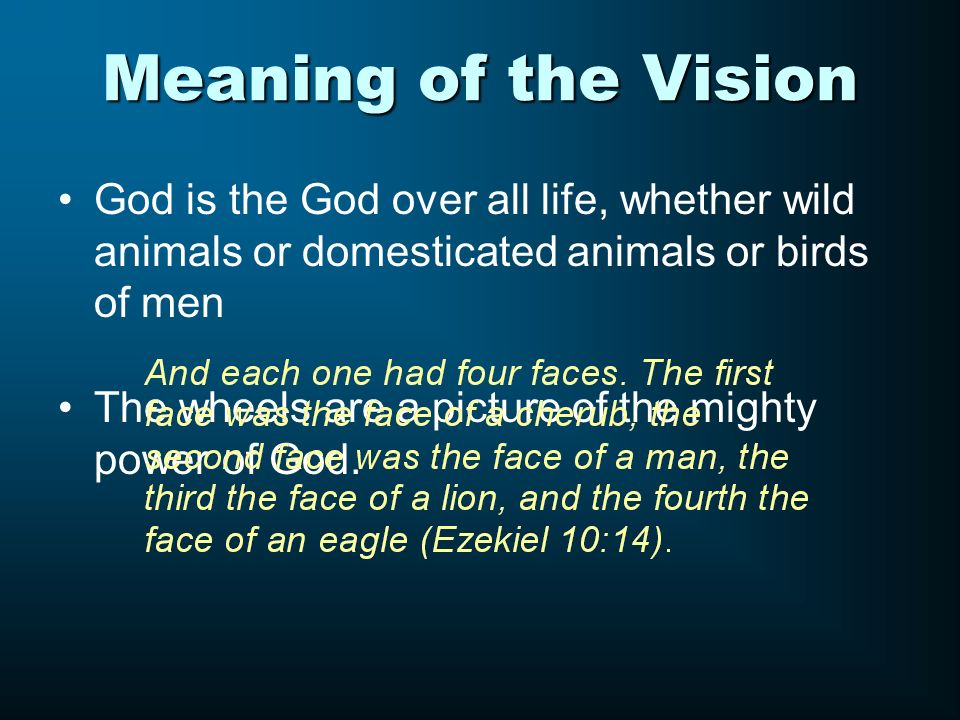 Meaning of the Vision God is the God over all life, whether wild animals or domesticated animals or birds of men The wheels are a picture of the might