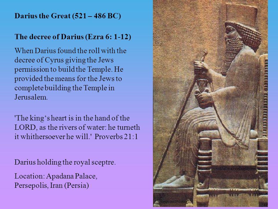 Darius holding the royal sceptre. Location: Apadana Palace, Persepolis, Iran (Persia) Darius the Great (521 – 486 BC) The decree of Darius (Ezra 6: 1-