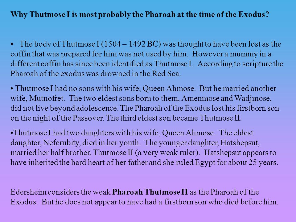 Why Thutmose I is most probably the Pharoah at the time of the Exodus.