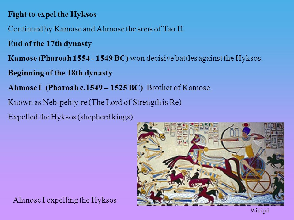 Fight to expel the Hyksos Continued by Kamose and Ahmose the sons of Tao II.