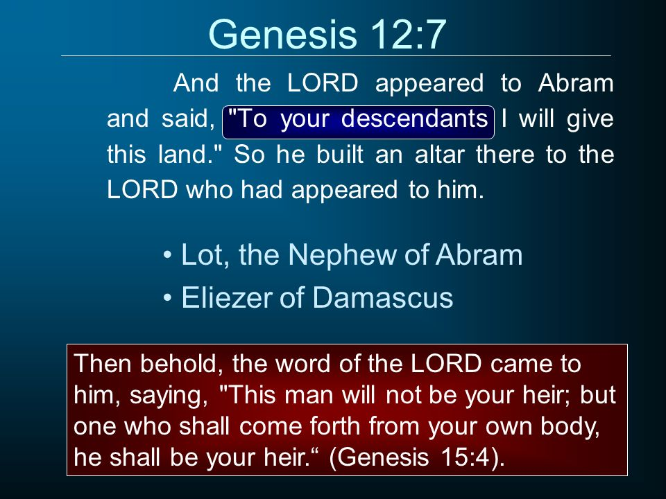 Genesis 12:7 And the LORD appeared to Abram and said,