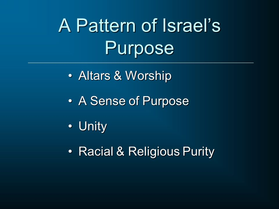 A Pattern of Israels Purpose Altars & WorshipAltars & Worship A Sense of PurposeA Sense of Purpose UnityUnity Racial & Religious PurityRacial & Religi