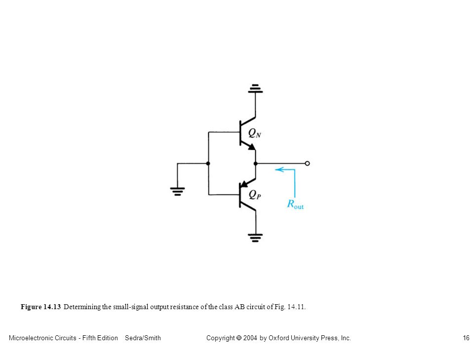 Microelectronic Circuits - Fifth Edition Sedra/Smith16 Copyright 2004 by Oxford University Press, Inc. Figure 14.13 Determining the small-signal outpu