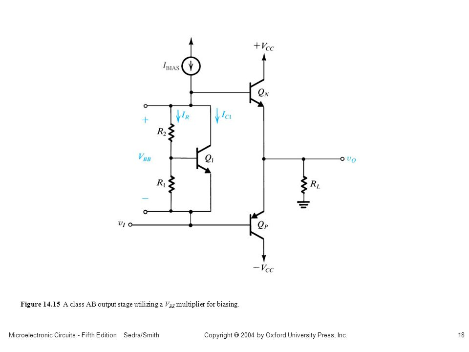 Microelectronic Circuits - Fifth Edition Sedra/Smith18 Copyright 2004 by Oxford University Press, Inc. Figure 14.15 A class AB output stage utilizing