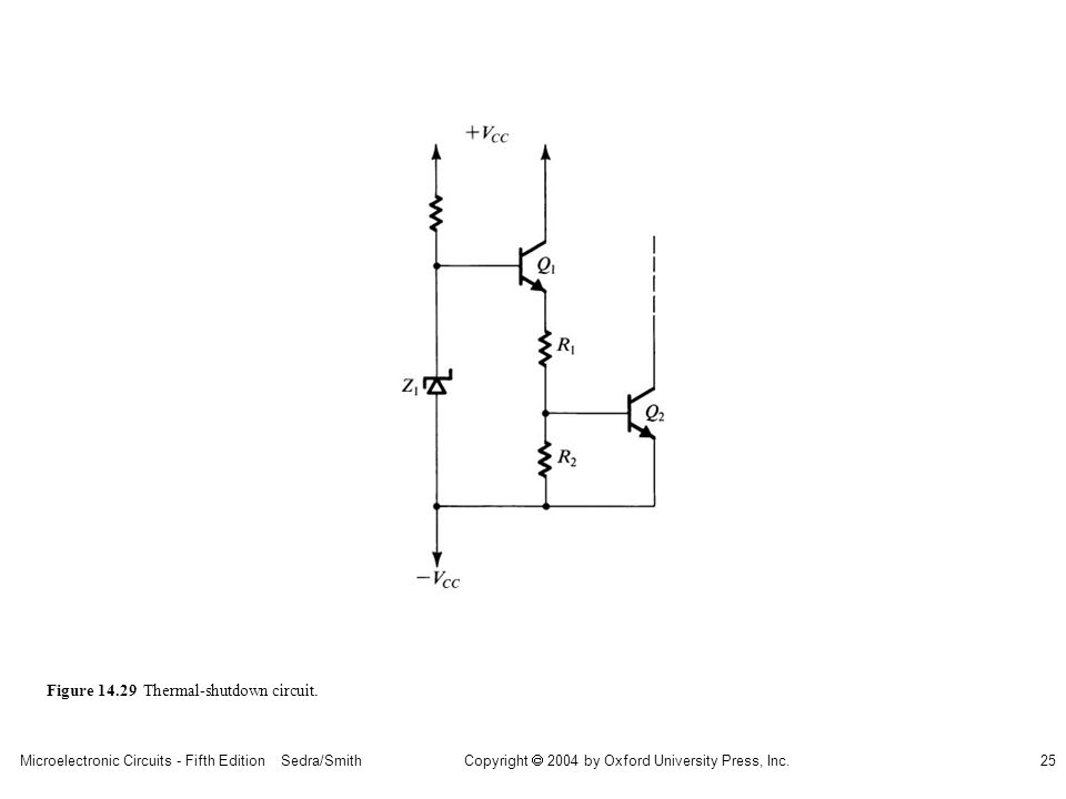 Microelectronic Circuits - Fifth Edition Sedra/Smith25 Copyright 2004 by Oxford University Press, Inc. Figure 14.29 Thermal-shutdown circuit.
