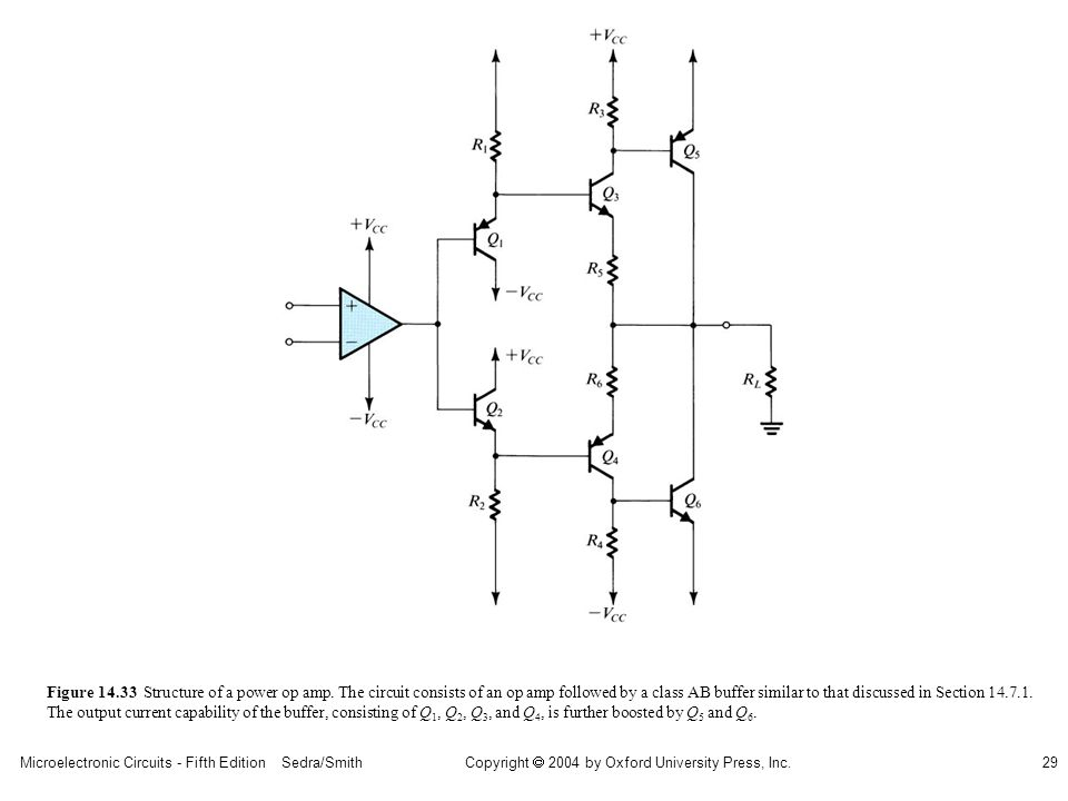 Microelectronic Circuits - Fifth Edition Sedra/Smith29 Copyright 2004 by Oxford University Press, Inc. Figure 14.33 Structure of a power op amp. The c