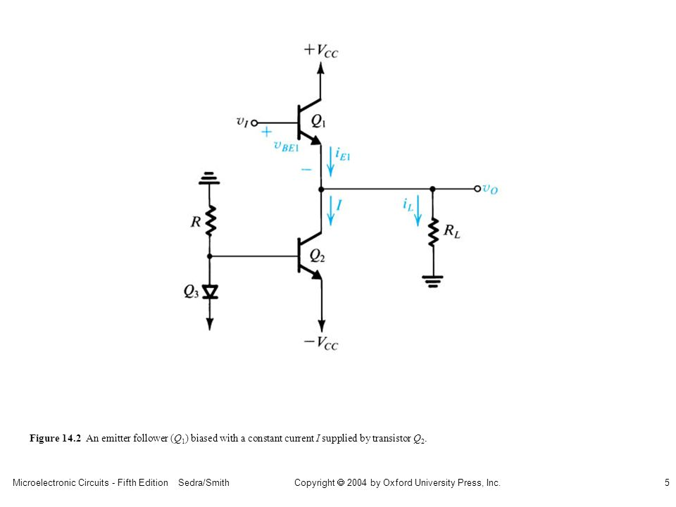 Microelectronic Circuits - Fifth Edition Sedra/Smith5 Copyright 2004 by Oxford University Press, Inc. Figure 14.2 An emitter follower (Q 1 ) biased wi