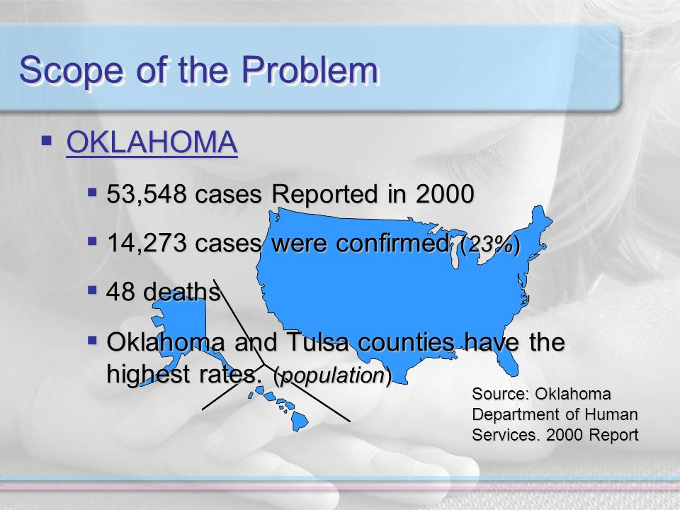 Scope of the Problem OKLAHOMA OKLAHOMA 53,548 cases Reported in ,548 cases Reported in ,273 cases were confirmed (23%) 14,273 cases were confirmed (23%) 48 deaths 48 deaths Oklahoma and Tulsa counties have the highest rates.