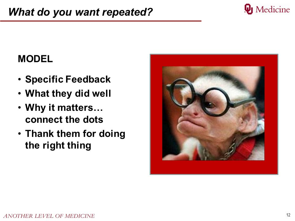 12 What do you want repeated? MODEL Specific Feedback What they did well Why it matters… connect the dots Thank them for doing the right thing