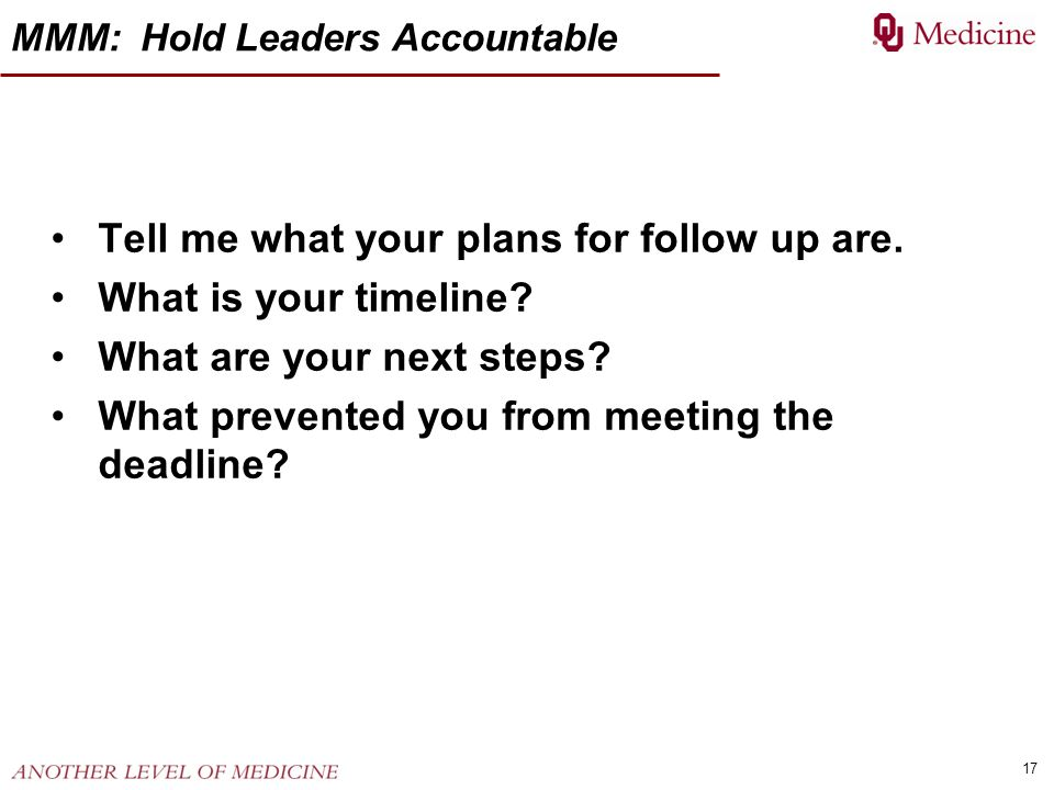 17 MMM: Hold Leaders Accountable Tell me what your plans for follow up are. What is your timeline? What are your next steps? What prevented you from m