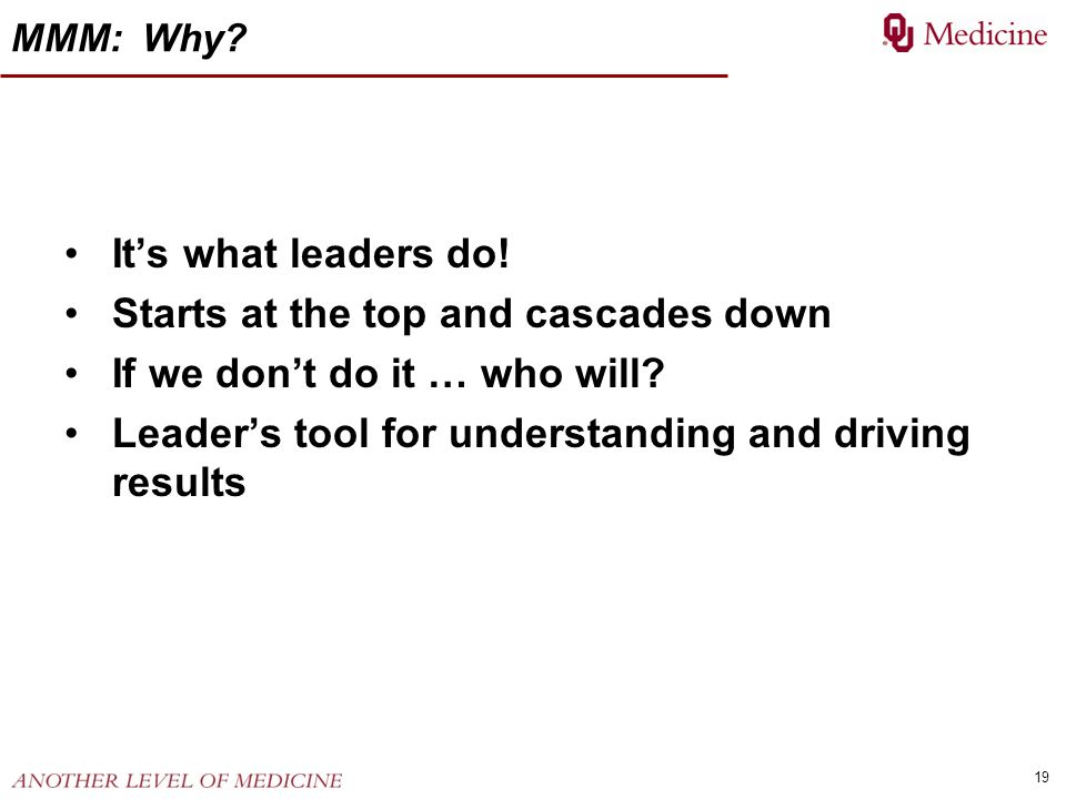 19 MMM: Why? Its what leaders do! Starts at the top and cascades down If we dont do it … who will? Leaders tool for understanding and driving results