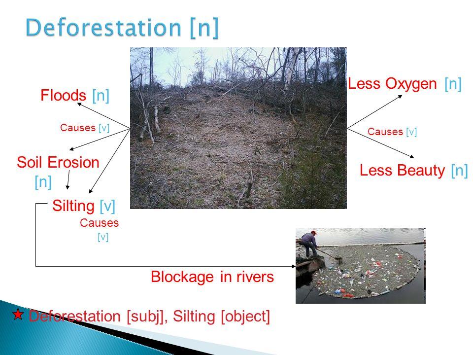 Floods [n] Causes [v] Soil Erosion [n] Silting [v] Less Oxygen [n] Less Beauty [n] Causes [v] Deforestation [subj], Silting [object] Causes [v] Blocka