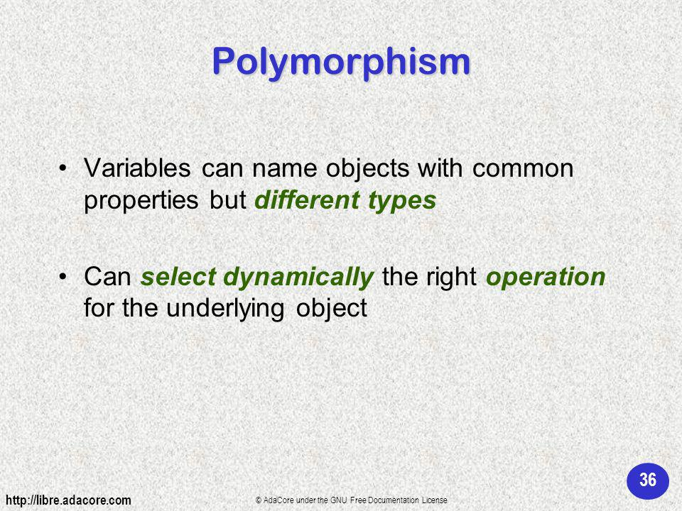 36 http://libre.adacore.com © AdaCore under the GNU Free Documentation License Polymorphism Variables can name objects with common properties but different types Can select dynamically the right operation for the underlying object
