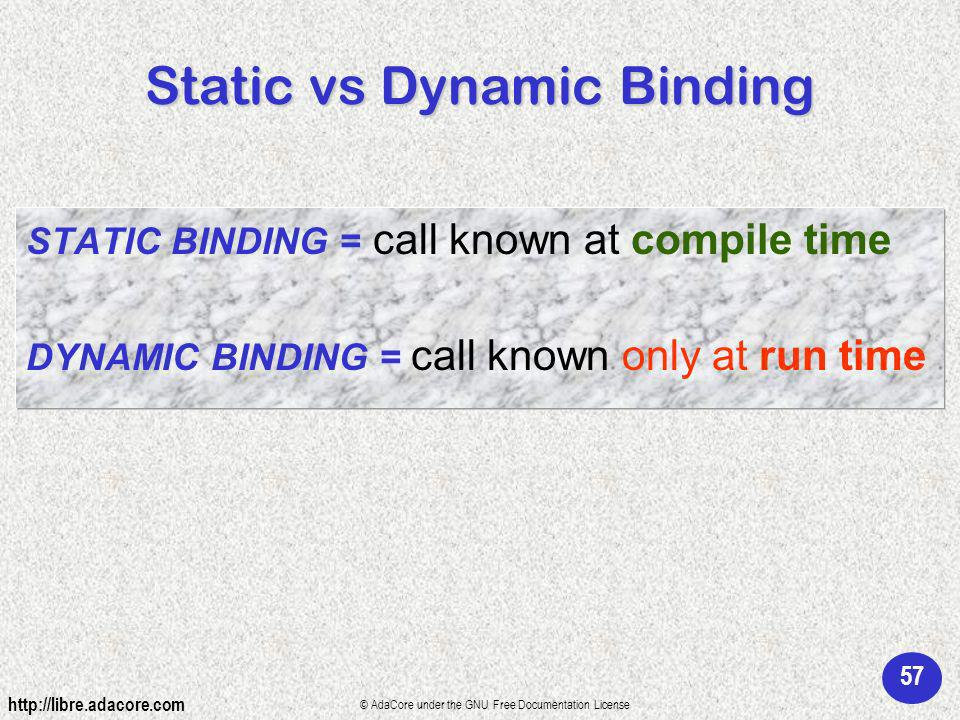 57 http://libre.adacore.com © AdaCore under the GNU Free Documentation License Static vs Dynamic Binding STATIC BINDING = call known at compile time DYNAMIC BINDING = call known only at run time