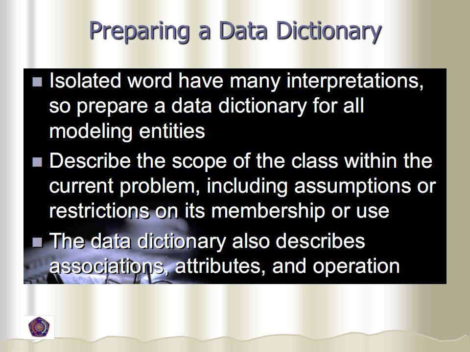 Preparing a Data Dictionary