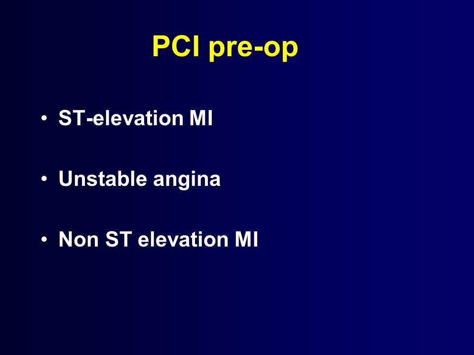 PCI pre-op ST-elevation MI Unstable angina Non ST elevation MI