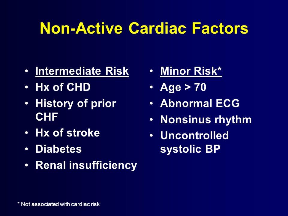 Non-Active Cardiac Factors Intermediate Risk Hx of CHD History of prior CHF Hx of stroke Diabetes Renal insufficiency Minor Risk* Age > 70 Abnormal EC