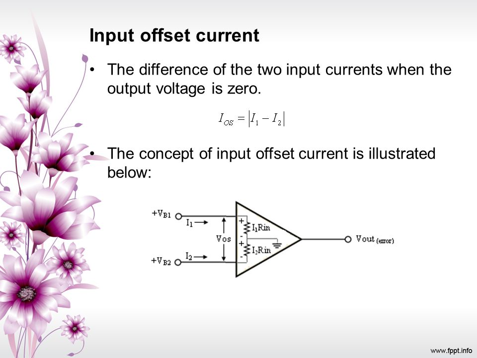 Input offset current The difference of the two input currents when the output voltage is zero. The concept of input offset current is illustrated belo