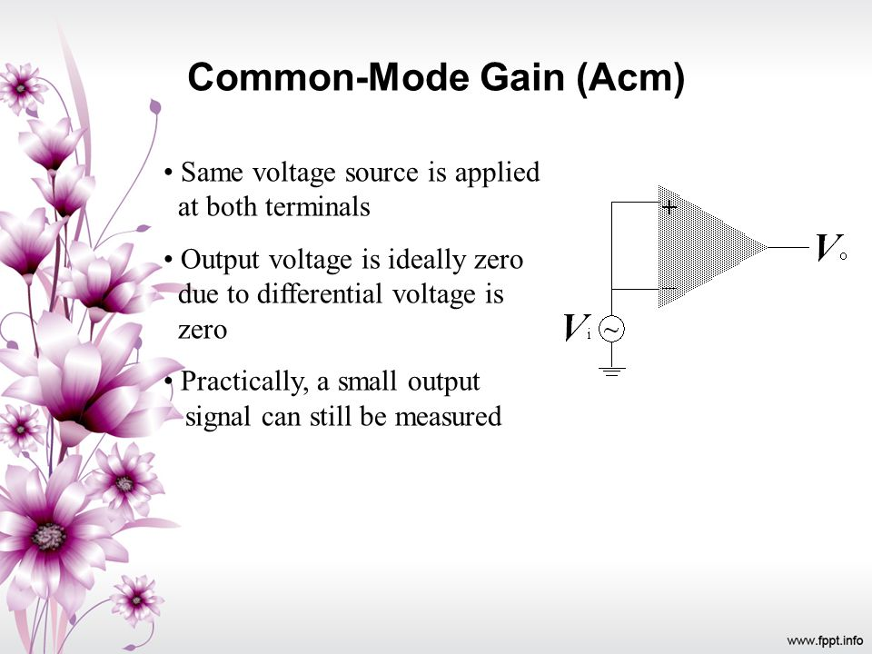 Common-Mode Gain (Acm) Same voltage source is applied at both terminals Output voltage is ideally zero due to differential voltage is zero Practically
