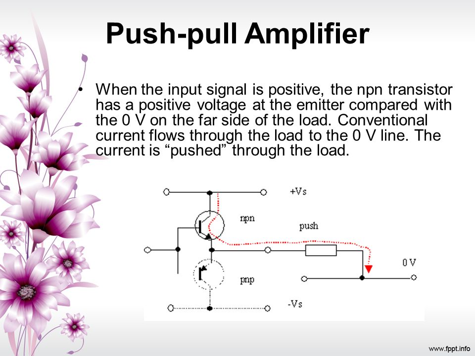 When the input signal is positive, the npn transistor has a positive voltage at the emitter compared with the 0 V on the far side of the load. Convent