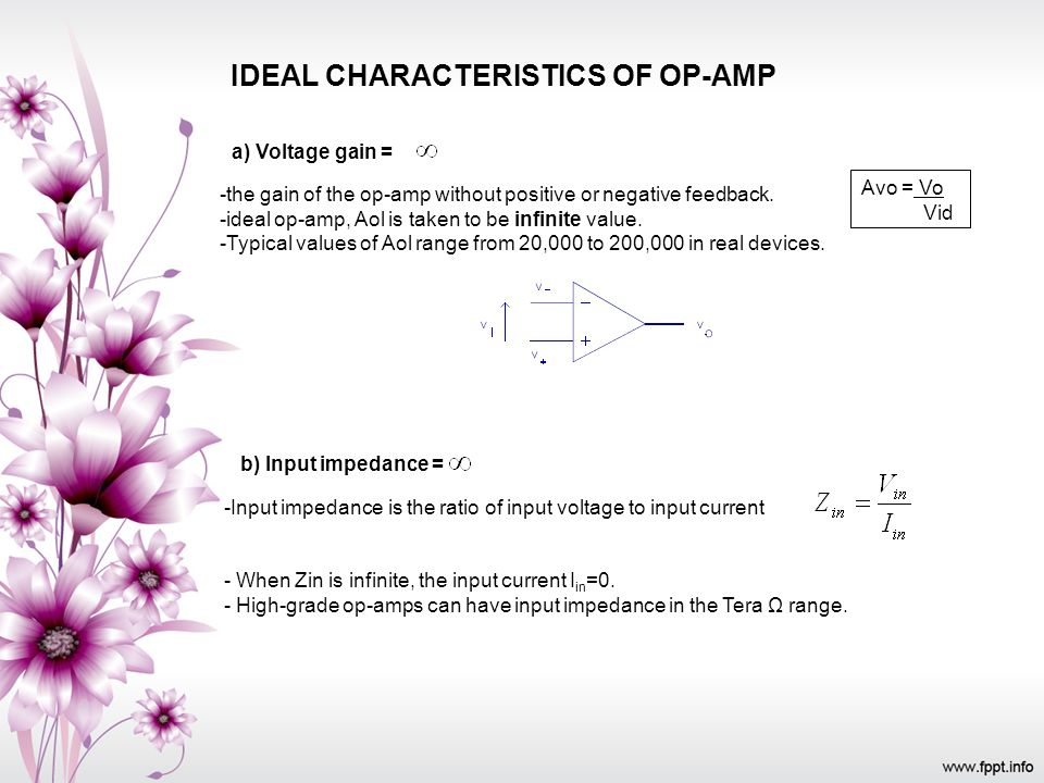 IDEAL CHARACTERISTICS OF OP-AMP a) Voltage gain = -the gain of the op-amp without positive or negative feedback. -ideal op-amp, Aol is taken to be inf