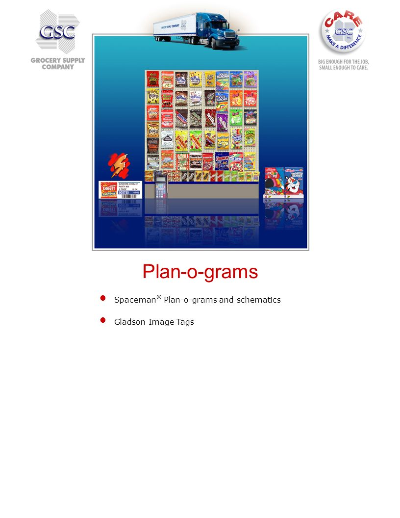 Spaceman ® Plan-o-grams and schematics Gladson Image Tags Plan-o-grams
