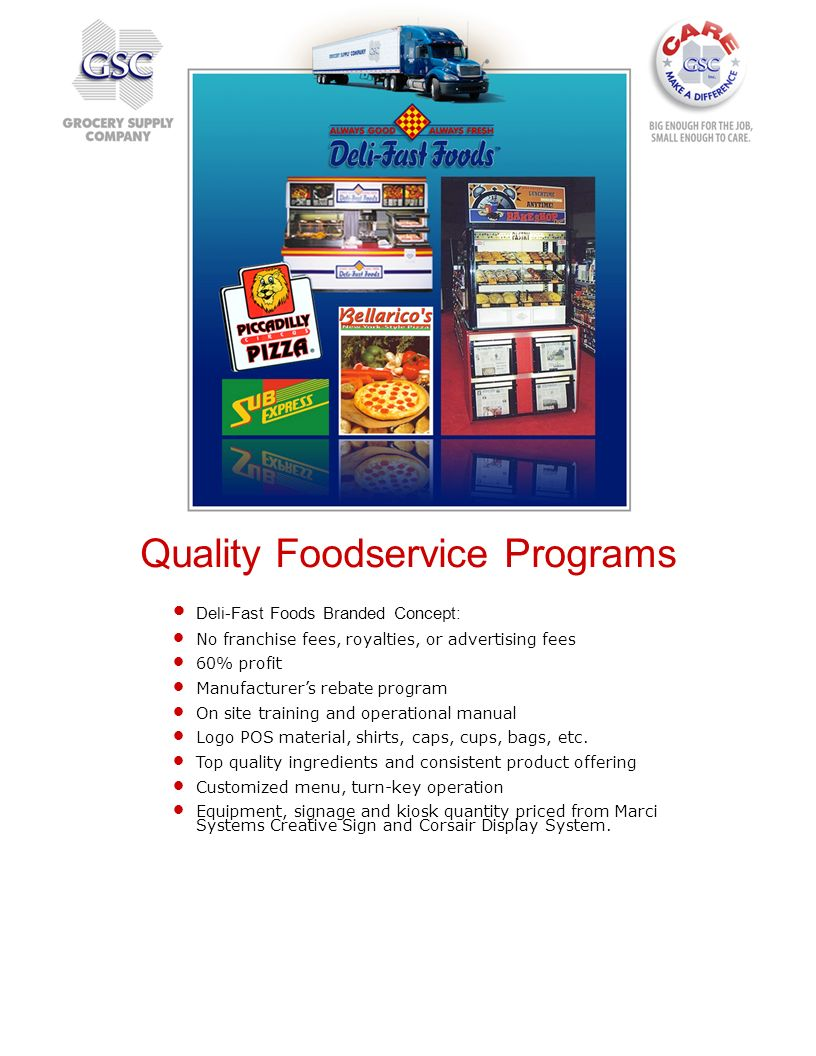 Quality Foodservice Programs Deli-Fast Foods Branded Concept: No franchise fees, royalties, or advertising fees 60% profit Manufacturers rebate progra