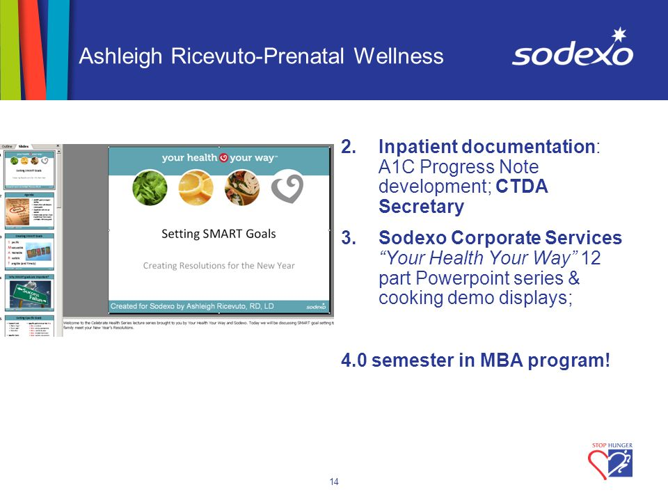 14 Ashleigh Ricevuto-Prenatal Wellness 2.Inpatient documentation: A1C Progress Note development; CTDA Secretary 3.Sodexo Corporate Services Your Healt
