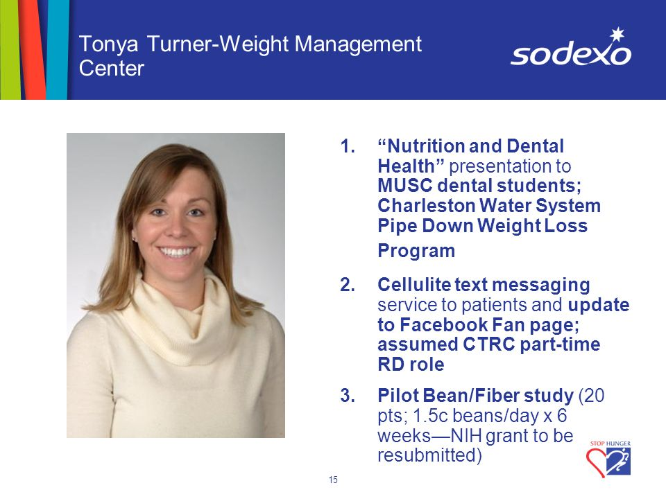 15 Tonya Turner-Weight Management Center 1.Nutrition and Dental Health presentation to MUSC dental students; Charleston Water System Pipe Down Weight Loss Program 2.Cellulite text messaging service to patients and update to Facebook Fan page; assumed CTRC part-time RD role 3.Pilot Bean/Fiber study (20 pts; 1.5c beans/day x 6 weeksNIH grant to be resubmitted)