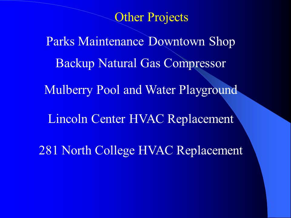 Parks Maintenance Downtown Shop Lincoln Center HVAC Replacement 281 North College HVAC Replacement Other Projects Mulberry Pool and Water Playground Backup Natural Gas Compressor