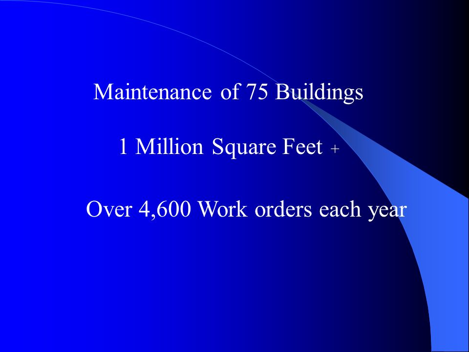 Maintenance of 75 Buildings 1 Million Square Feet + Over 4,600 Work orders each year