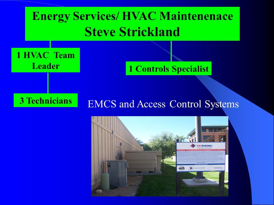 Energy Services/ HVAC Maintenenace Steve Strickland EMCS and Access Control Systems 1 HVAC Team Leader 3 Technicians 1 Controls Specialist