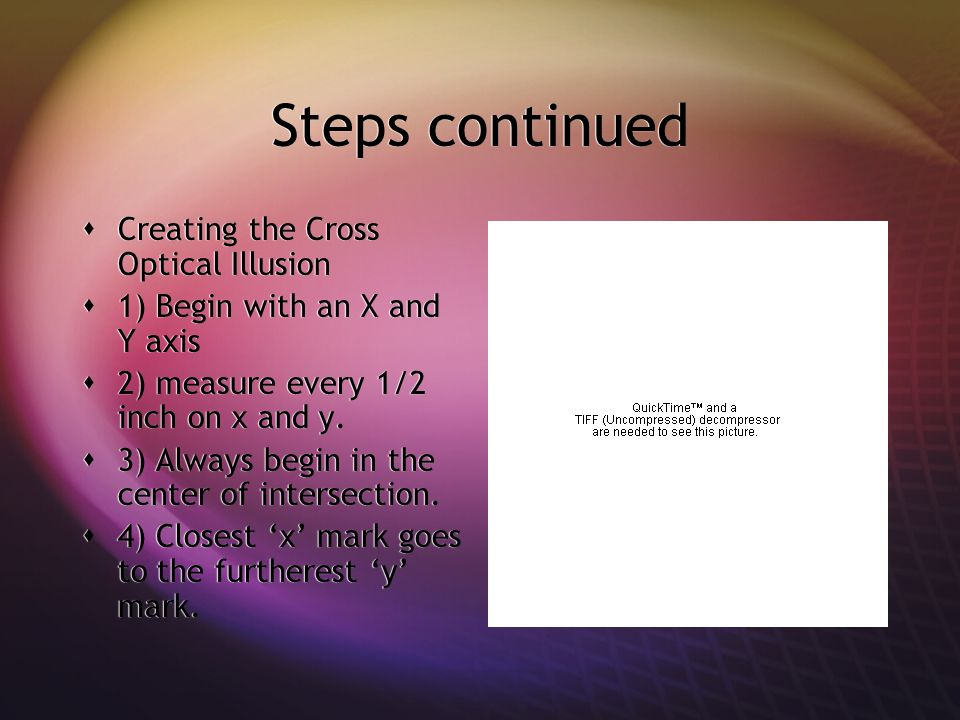 Steps continued Creating the Cross Optical Illusion 1) Begin with an X and Y axis 2) measure every 1/2 inch on x and y.