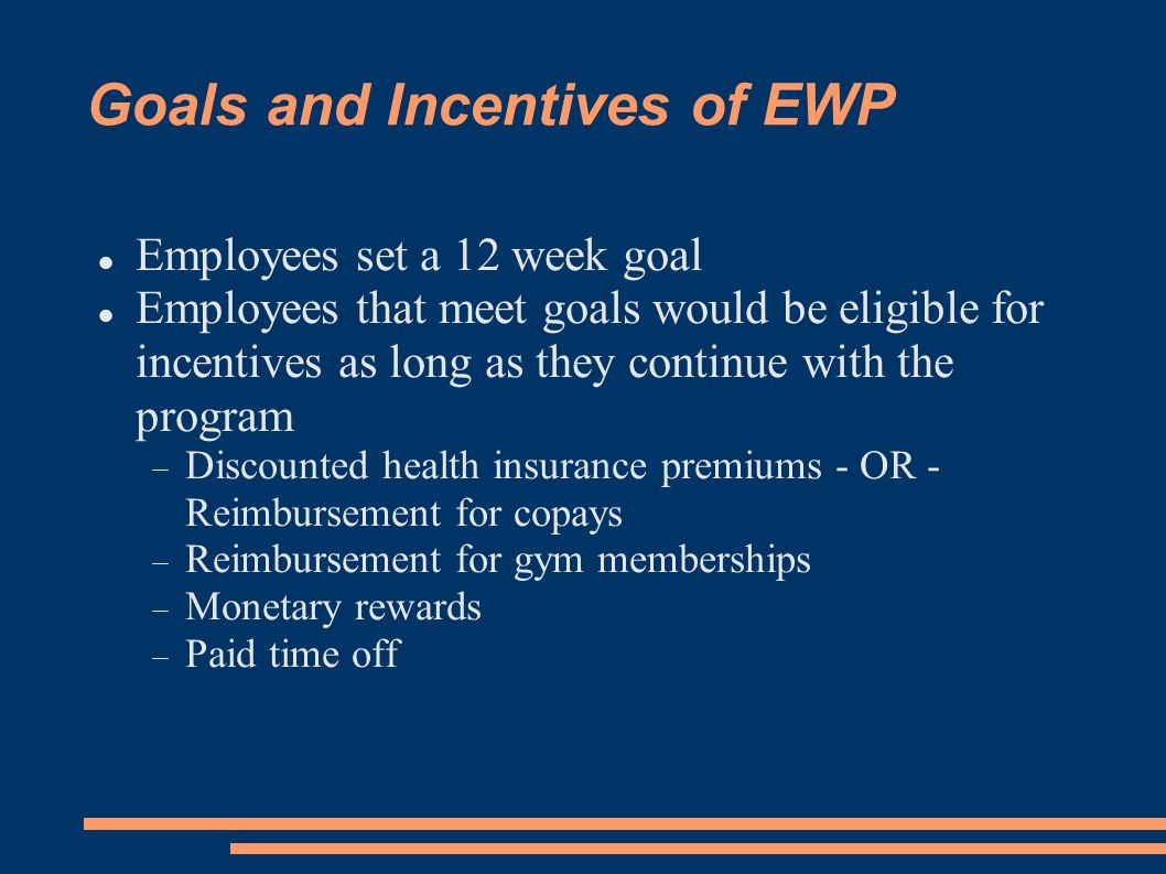 Goals and Incentives of EWP Employees set a 12 week goal Employees that meet goals would be eligible for incentives as long as they continue with the