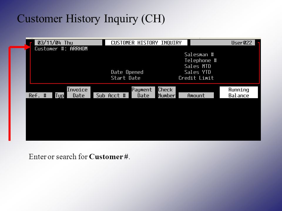 Customer History Inquiry (CH) Enter or search for Customer #.