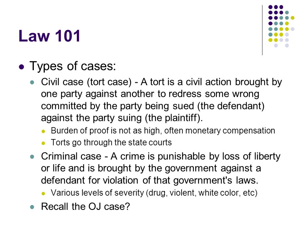 Law 101 Types of cases: Civil case (tort case) - A tort is a civil action brought by one party against another to redress some wrong committed by the party being sued (the defendant) against the party suing (the plaintiff).