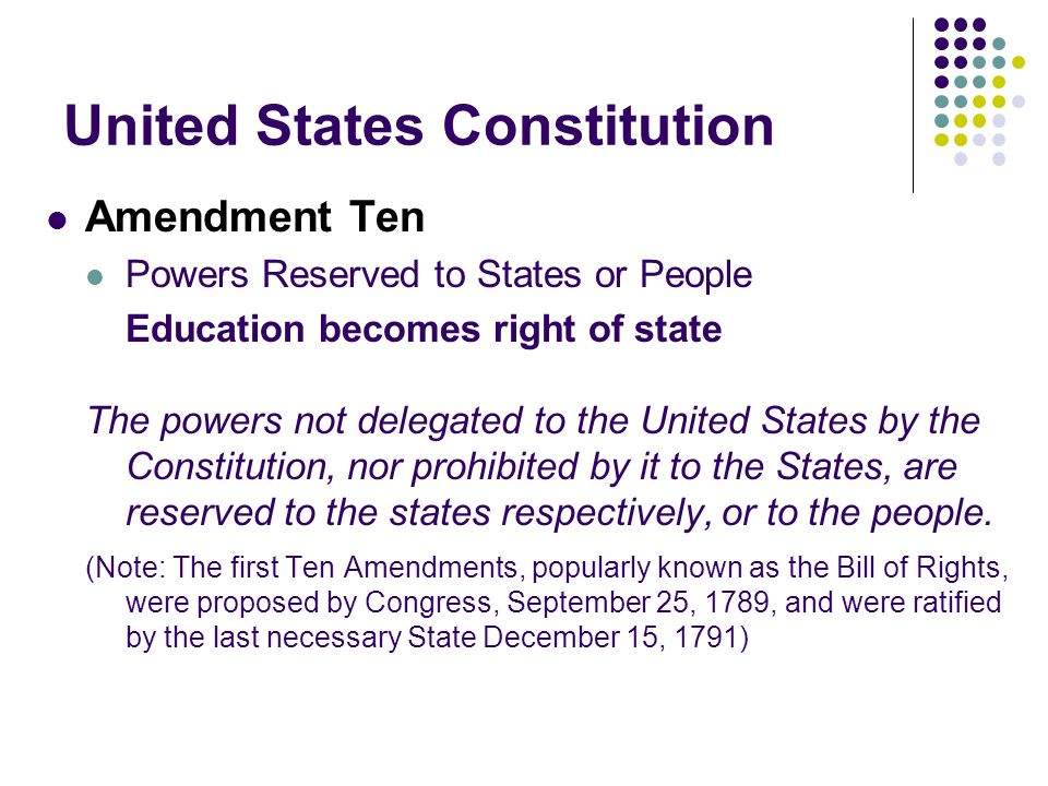 United States Constitution Amendment Ten Powers Reserved to States or People Education becomes right of state The powers not delegated to the United States by the Constitution, nor prohibited by it to the States, are reserved to the states respectively, or to the people.