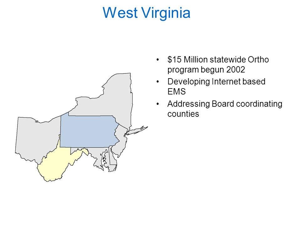 West Virginia $15 Million statewide Ortho program begun 2002 Developing Internet based EMS Addressing Board coordinating counties