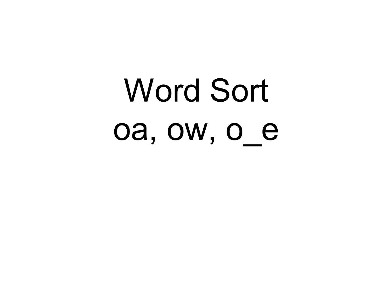 long O sound ow -end of a word o_e -end oa -middle