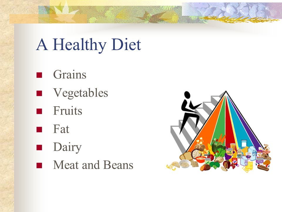 A Healthy Diet Grains Vegetables Fruits Fat Dairy Meat and Beans