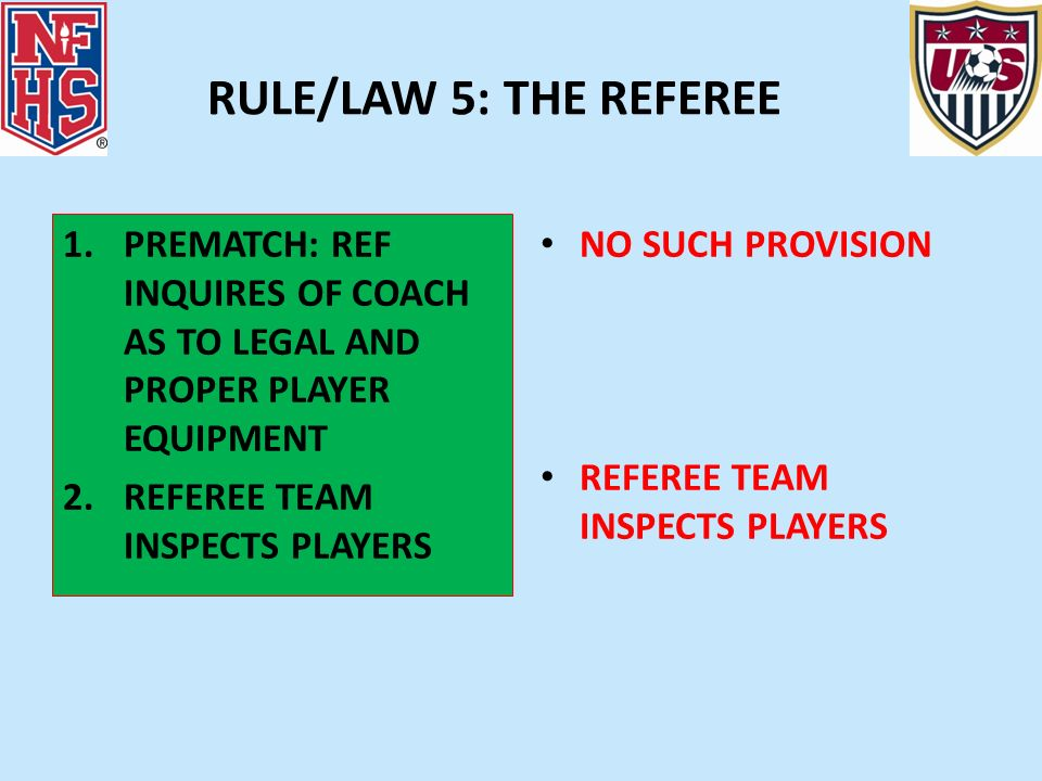 RULE/LAW 5: THE REFEREE 1.PREMATCH: REF INQUIRES OF COACH AS TO LEGAL AND PROPER PLAYER EQUIPMENT 2.REFEREE TEAM INSPECTS PLAYERS NO SUCH PROVISION RE