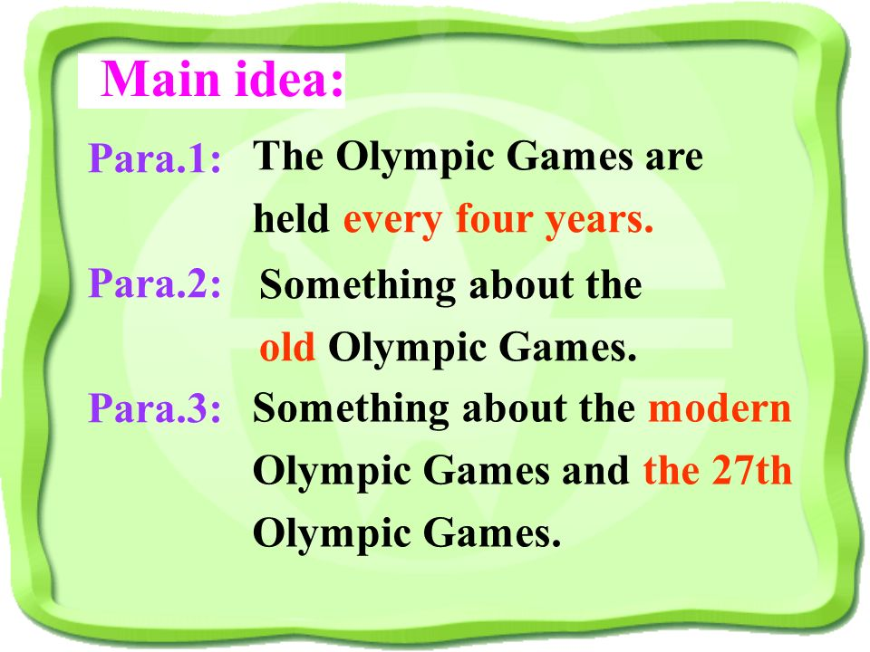 6. The Winter Olympic Games are held Every three years. 5. The 28 th Olympic Games will be held in Beijing. 4. The 27 th Olympic Games were held in Lo