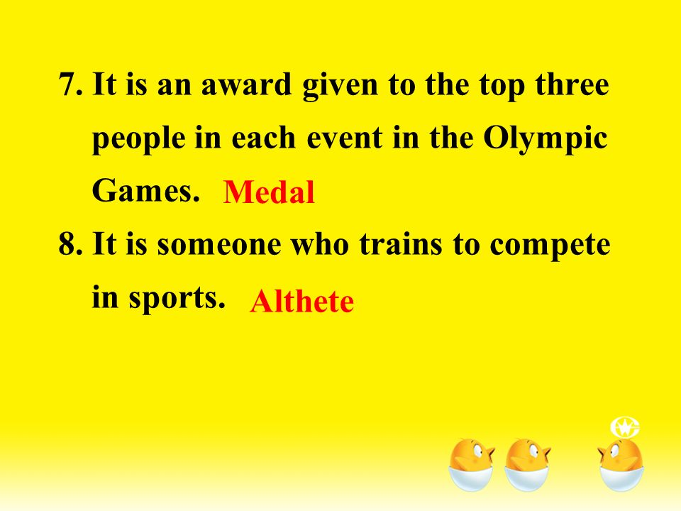 4. It is a sentence or a group of words taken as the guiding rule in the Olympic Games. 5. It is an event, aiming and firing with a gun. 6. It is an o