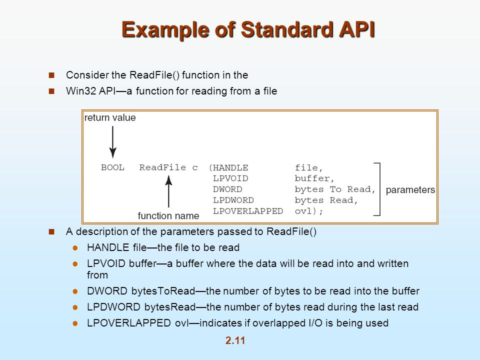 2.11 Example of Standard API Consider the ReadFile() function in the Win32 APIa function for reading from a file A description of the parameters passed to ReadFile() HANDLE filethe file to be read LPVOID buffera buffer where the data will be read into and written from DWORD bytesToReadthe number of bytes to be read into the buffer LPDWORD bytesReadthe number of bytes read during the last read LPOVERLAPPED ovlindicates if overlapped I/O is being used