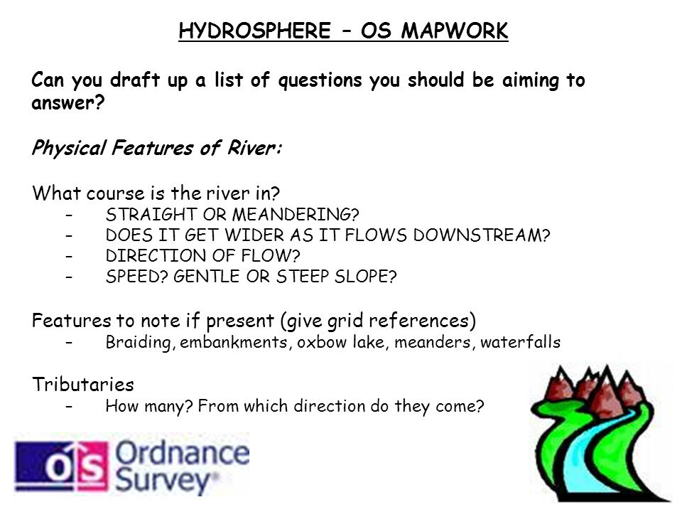 HYDROSPHERE – OS MAPWORK Can you draft up a list of questions you should be aiming to answer.