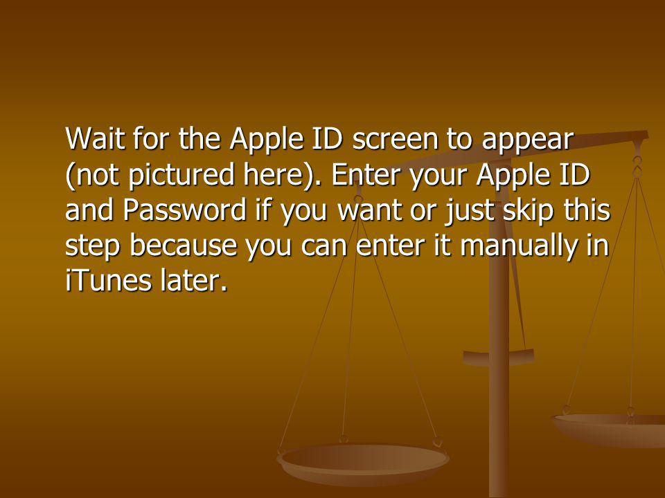 Wait for the Apple ID screen to appear (not pictured here). Enter your Apple ID and Password if you want or just skip this step because you can enter
