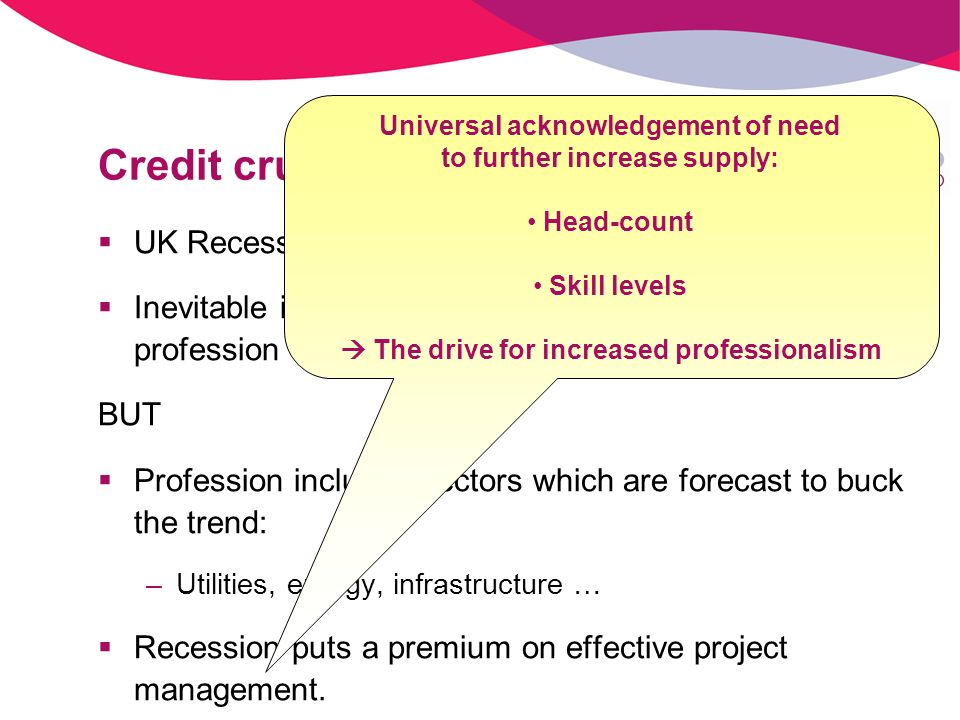 Credit crunch UK Recession now confirmed Inevitable impact on many sectors served by the profession BUT Profession includes sectors which are forecast