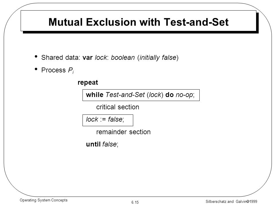 Silberschatz and Galvin 1999 6.15 Operating System Concepts Mutual Exclusion with Test-and-Set Shared data: var lock: boolean (initially false) Proces