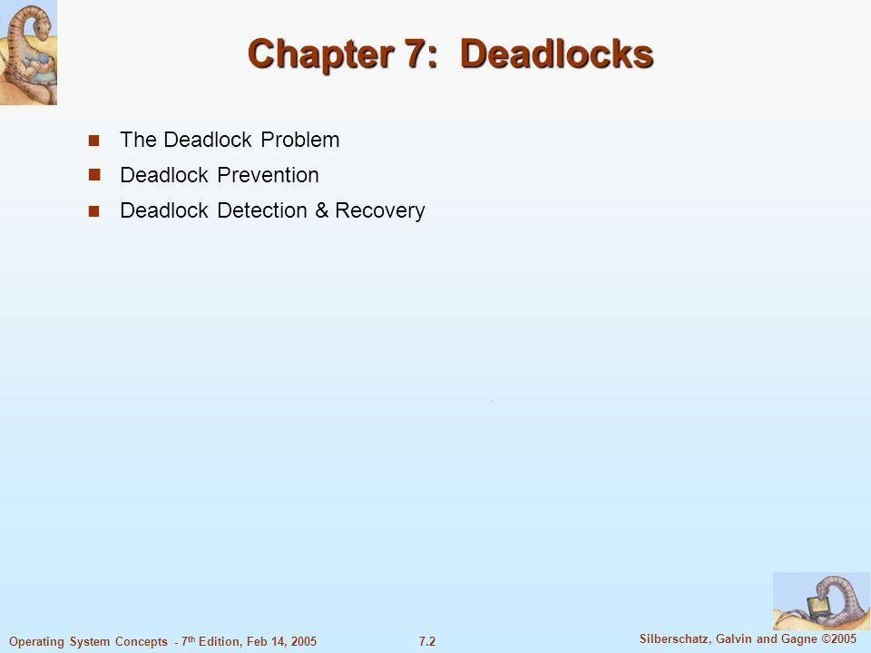 7.2 Silberschatz, Galvin and Gagne ©2005 Operating System Concepts - 7 th Edition, Feb 14, 2005 Chapter 7: Deadlocks The Deadlock Problem Deadlock Pre